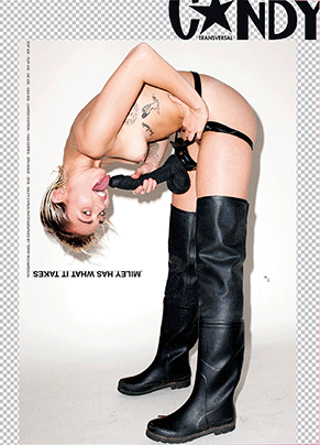 Miley Cyrus chupa un pene de látex para Candy Magazine